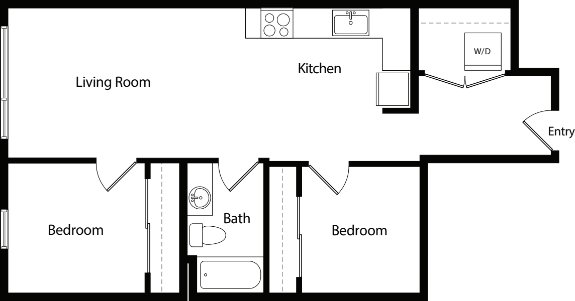 Two Bedroom One Bath B