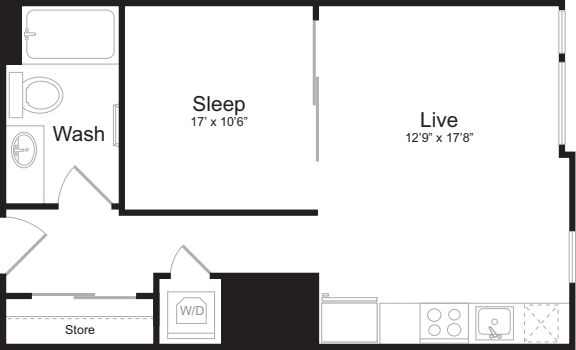 Open 1 Bedroom E