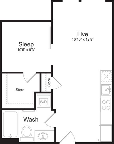Open 1 Bedroom F
