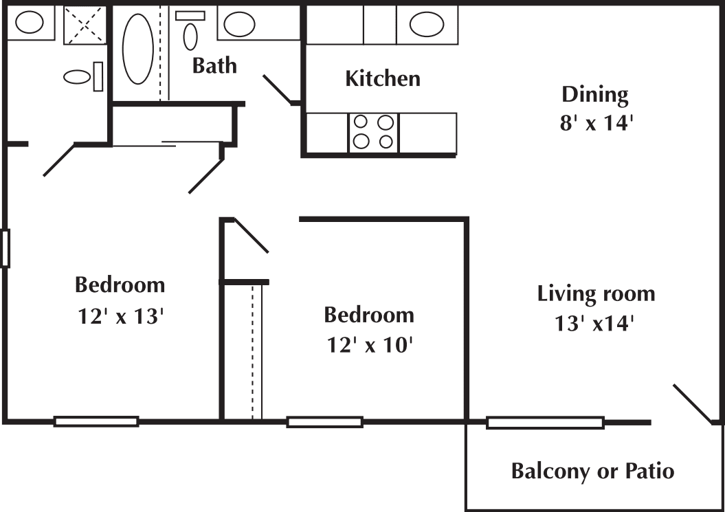 2 bed 2 Bath 728