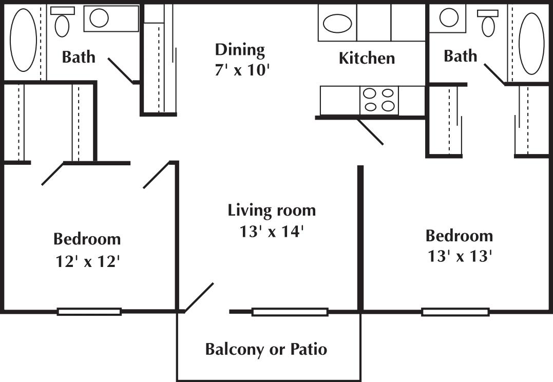 2 Bed 2 Bath