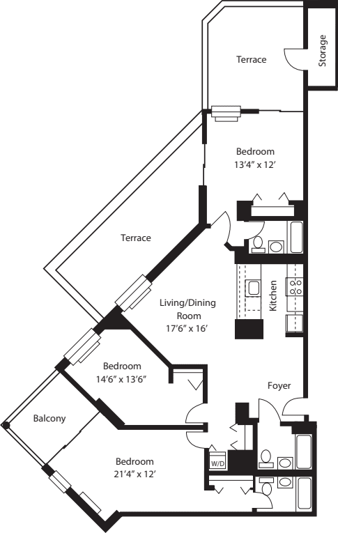 G3B & H3B (2 Terraces & Balcony)