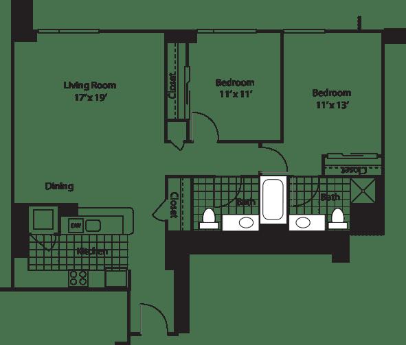 Two Bedroom 1128 B