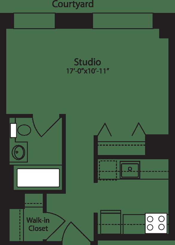 Plan F, floors 3-15