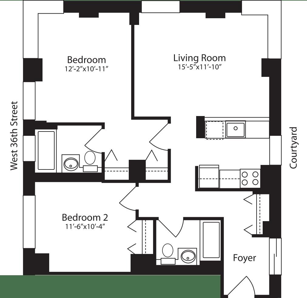 Plan E, floors 4-15