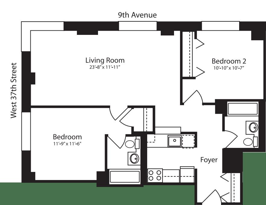 Plan R, floors 3-10