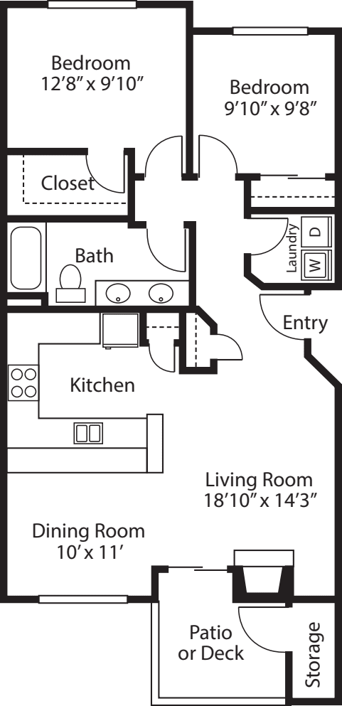 Two Bedroom/ One Bath