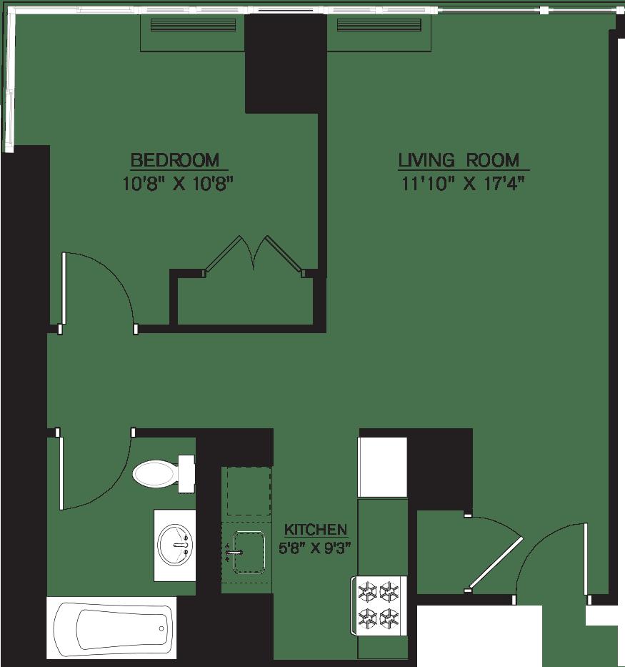 1 Bedroom A Line floors 17-41