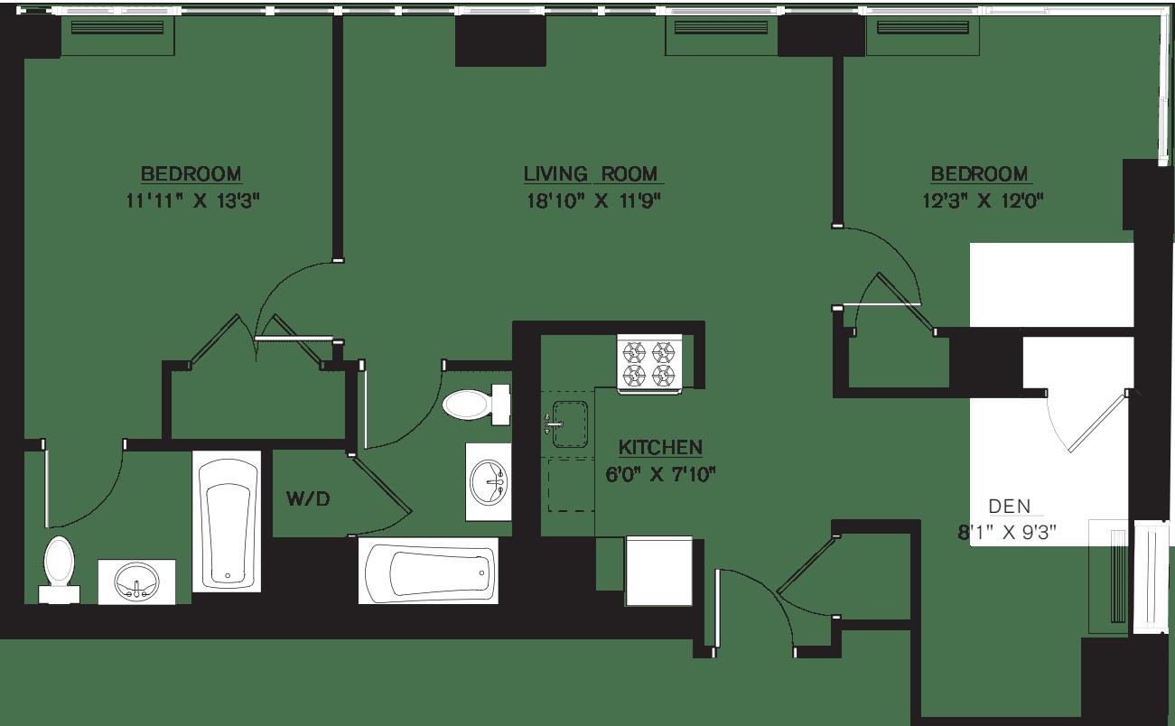 2 bedroom E Line with Den floors 42-50