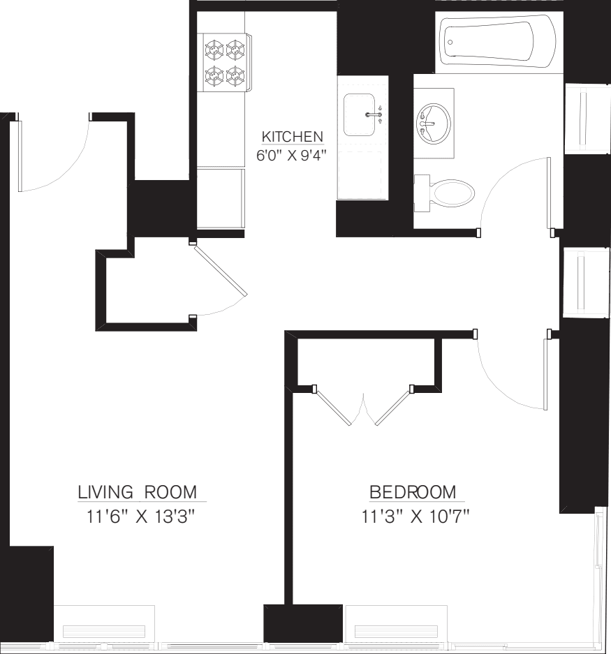 1 Bedroom G Line floors 17-41