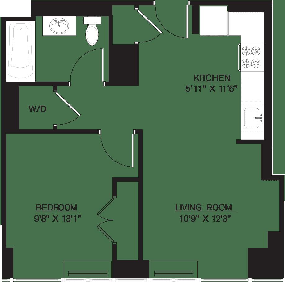 1 Bedroom K Line floors 8-41