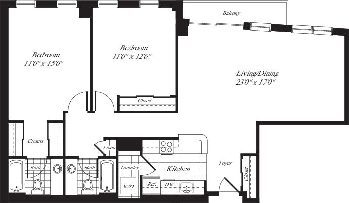 2 Bedrooms X