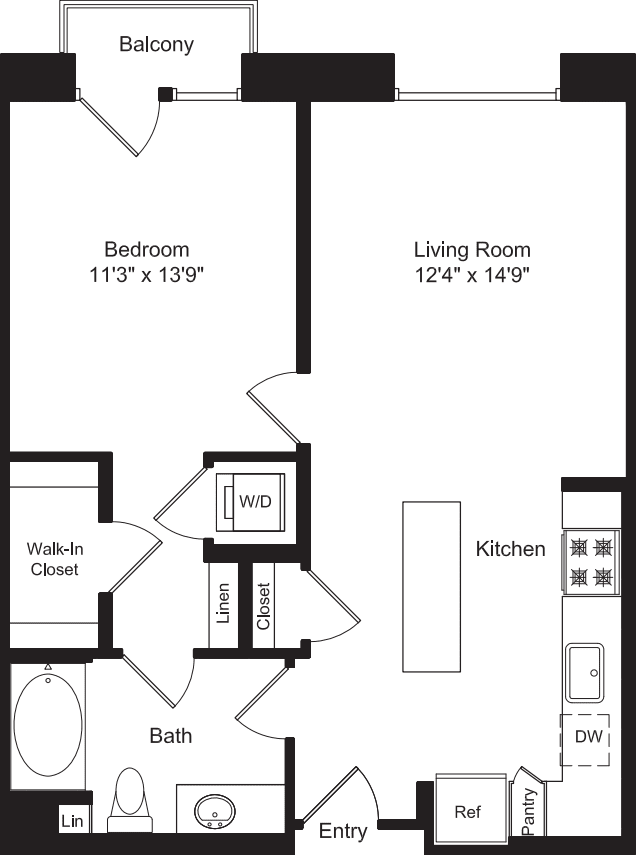 One Bed A1 with Master Balcony