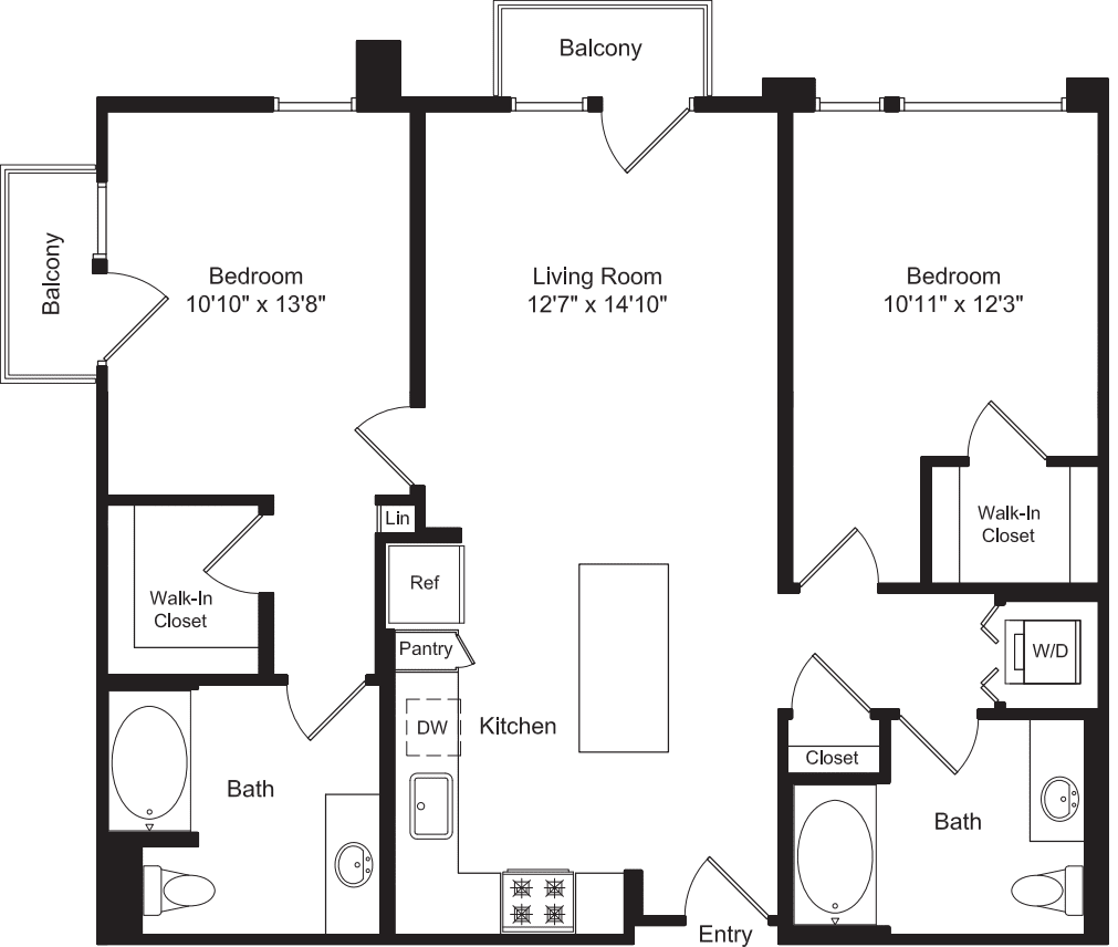 Two Bed B1 with Balconies