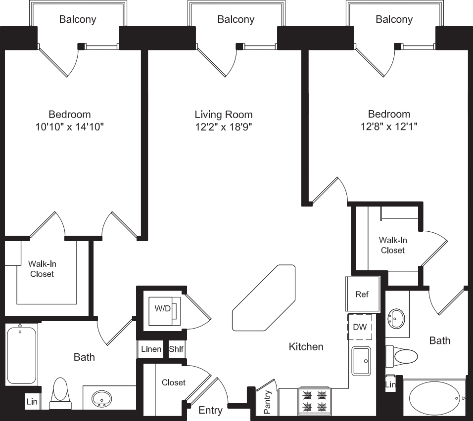 Two Bed B1 with 3 Balconies