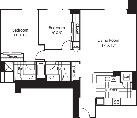 Two Bedroom 1128 A