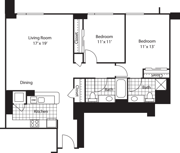 Two Bedroom 1128 B