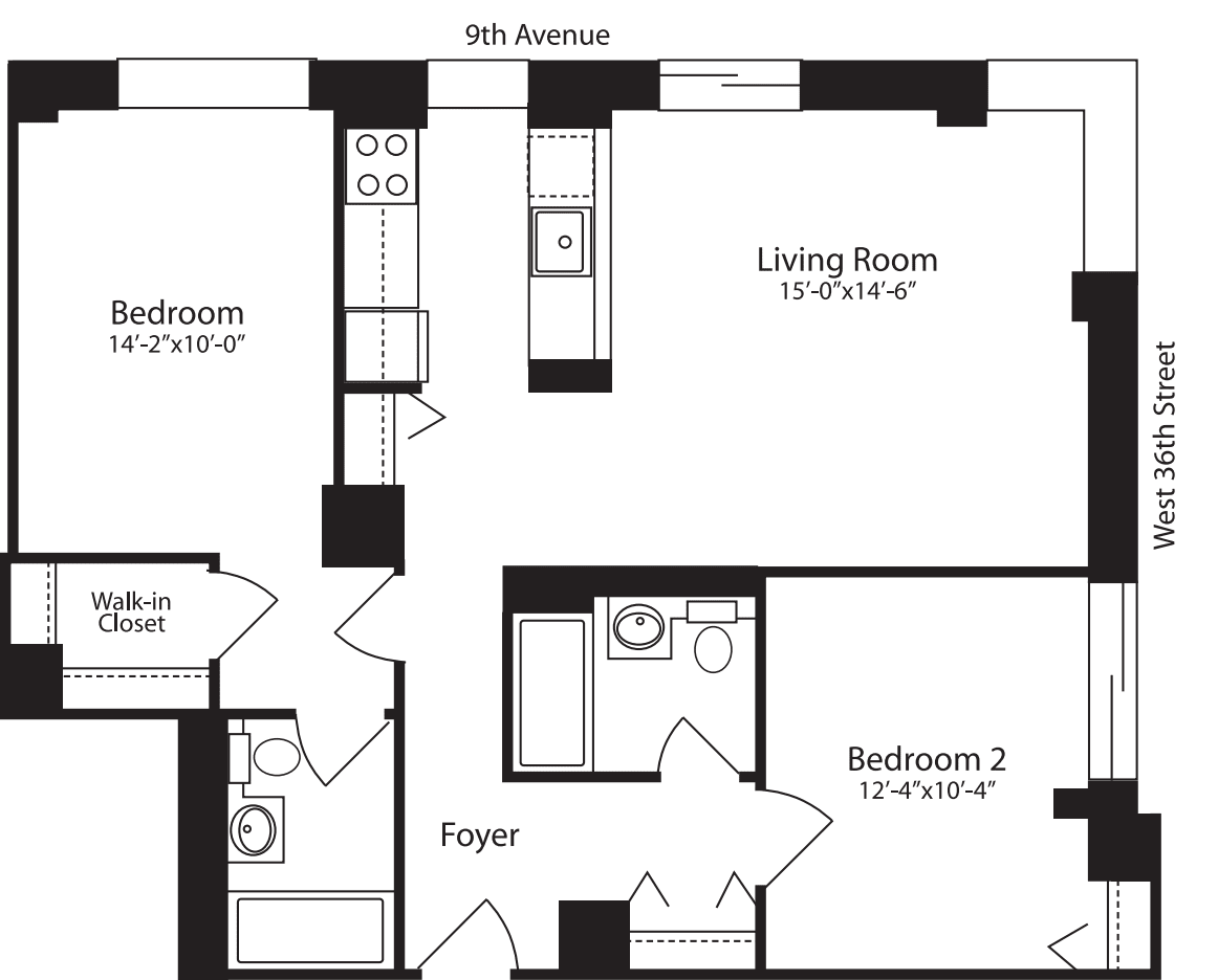 Plan L, floors 3-10