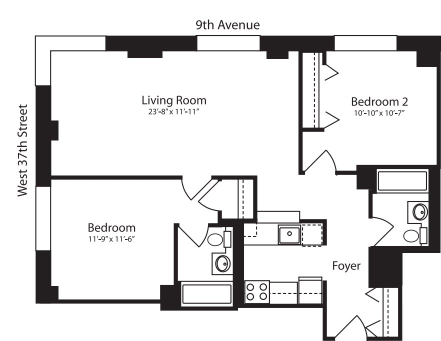 Plan R, floors 3-10