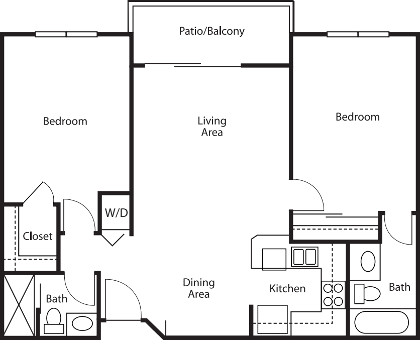 Two-Bedroom / Two-Bath 897