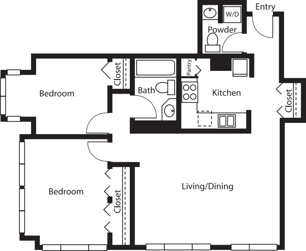 2 Bedroom/1.5 Bath Tower