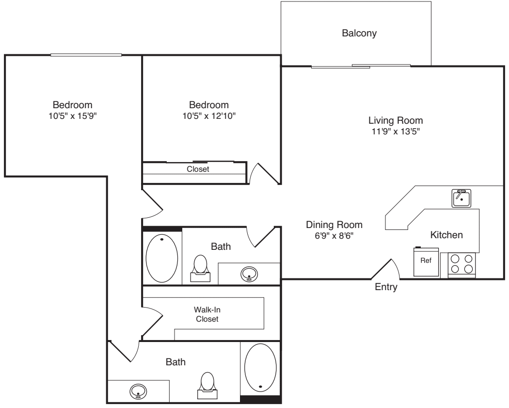 2x2 w/ Balcony