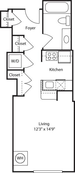 1 Beds 1 Baths 440 Sq Ft Plan 924 7: 2400 M Apartments