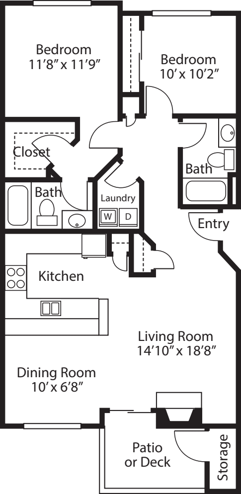 Two Bedroom/ Two Baths A