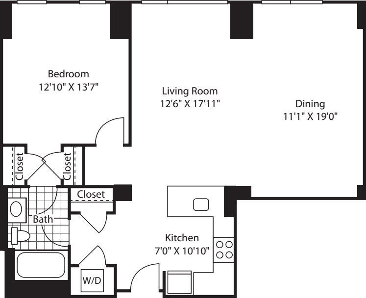 1 Bed (South) - 993