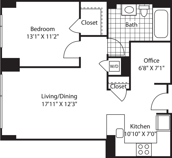 1 Bed (South) - 751