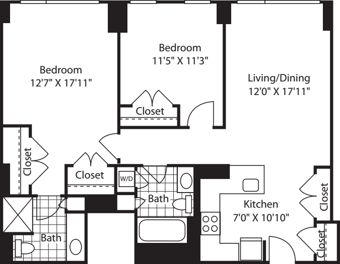2 Bed (South) - 1107