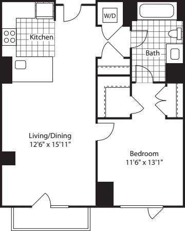 1 Bed (North)- 713B