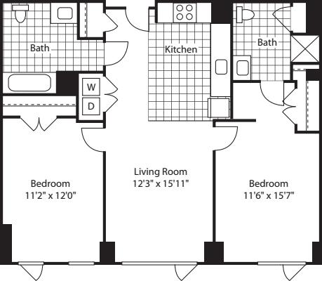 2 Bed (North)- 1100
