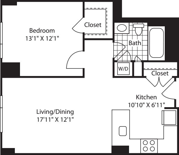1 Bedroom (South) - 718