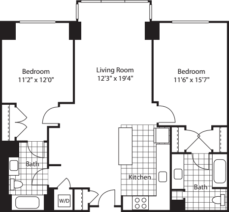 2 Bed Bay Windows (North) - 1099