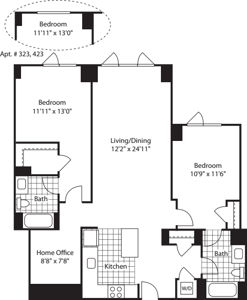 2 Bed w/ Office (North) - 1204