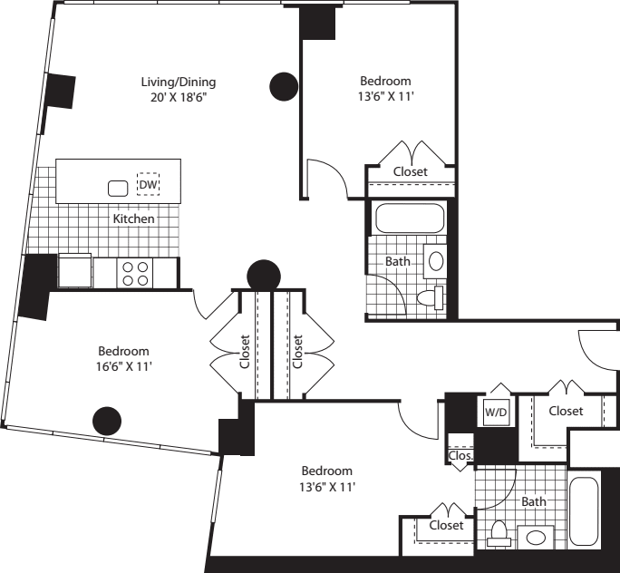 Three Bedroom Open Kit FL 12