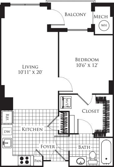 1 Bedroom- 660
