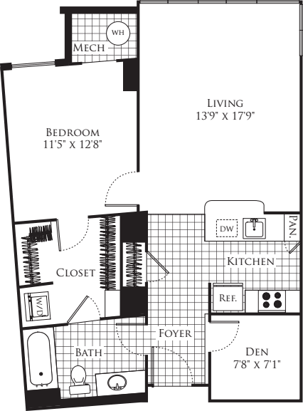 1 Bedroom with Den- 823