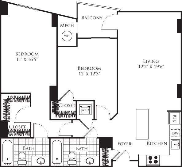 2 Bedroom- 1086