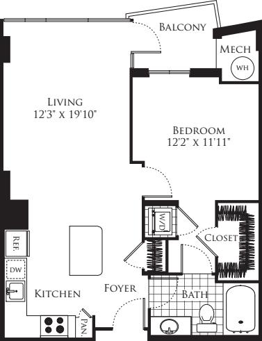 1 Bedroom- 730