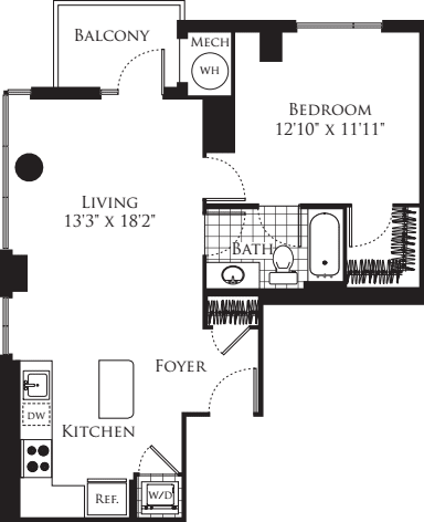 1 Bedroom- 756