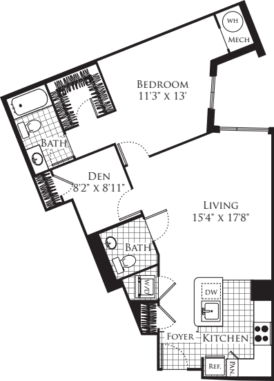 1 Bedroom with Den 949