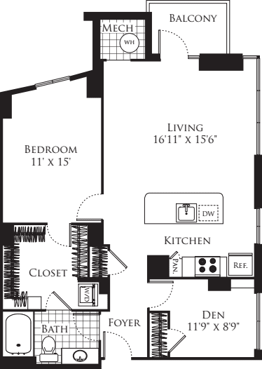1 Bedroom with Den 1012