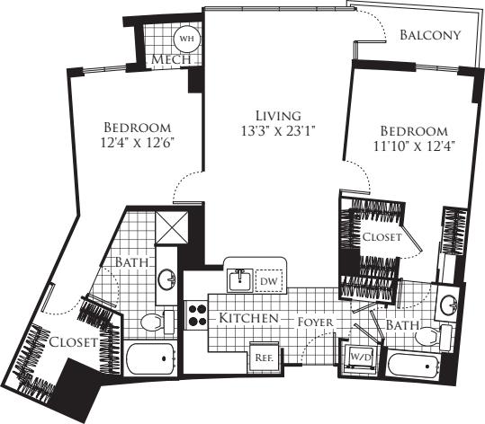 2 Bedroom- 1227