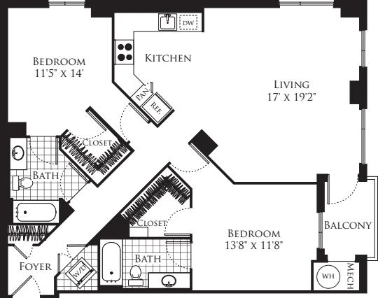 2 Bedroom- 1248
