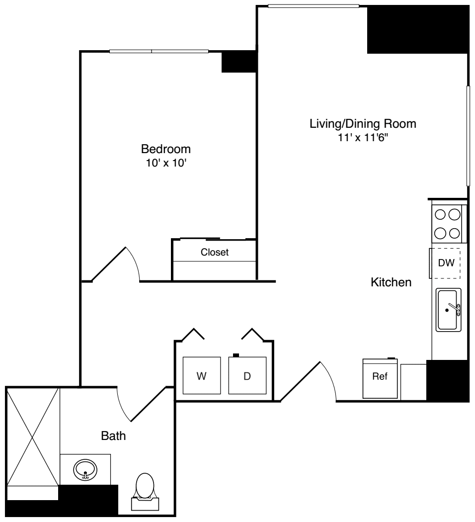 1 Bedroom - w/balcony, WD & AC
