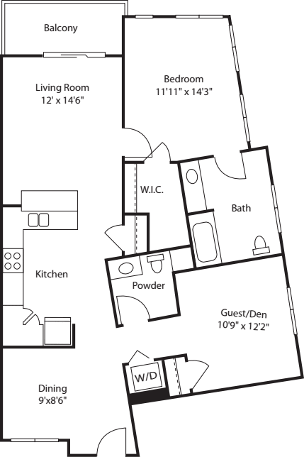 One Bedroom with Den 1040