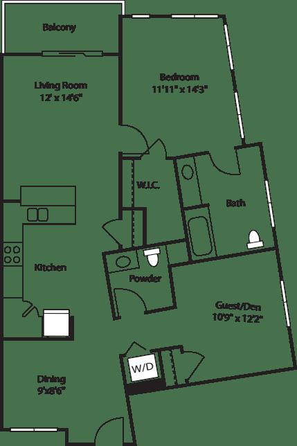 One Bedroom with Den 1040