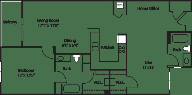 One Bedroom With Den 1125